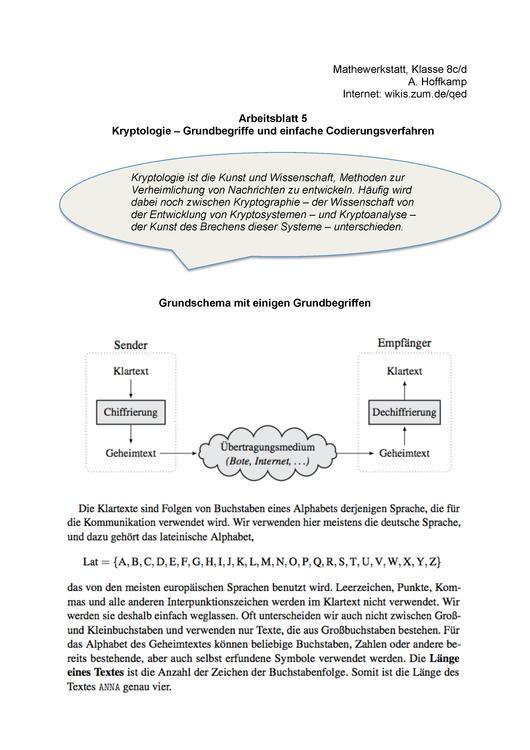 Mathewerkstatt, Klasse 8c/d A. Hoffkamp Internet: wikis.zum.de/qed ...